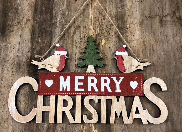 robin merry christmas wooden hanging christmas sign - Merry Christmas Wooden Sign